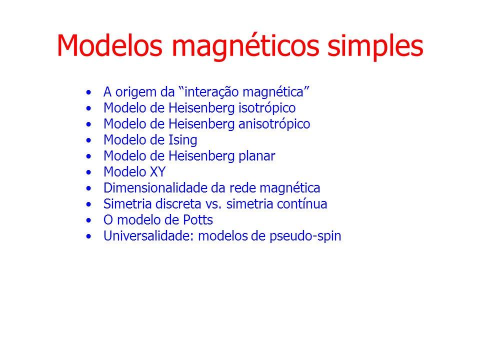 Interação magnética responsável pelo ordenamento magnético: troca (exchange) = repulsão coulombiana + princípio de Pauli Spins paralelos elétrons mais afastados diminui atração dos núcleos menor energia de ligação Spins anti-paralelos elétrons mais próximos aumenta atração dos núcleos maior energia de ligação acoplamento de troca: depende do recobrimento dos orbitais atômicos Molécula de H 2 Energia (Ry) Separação intermolecular (a 0 ) A origem da interação magnética