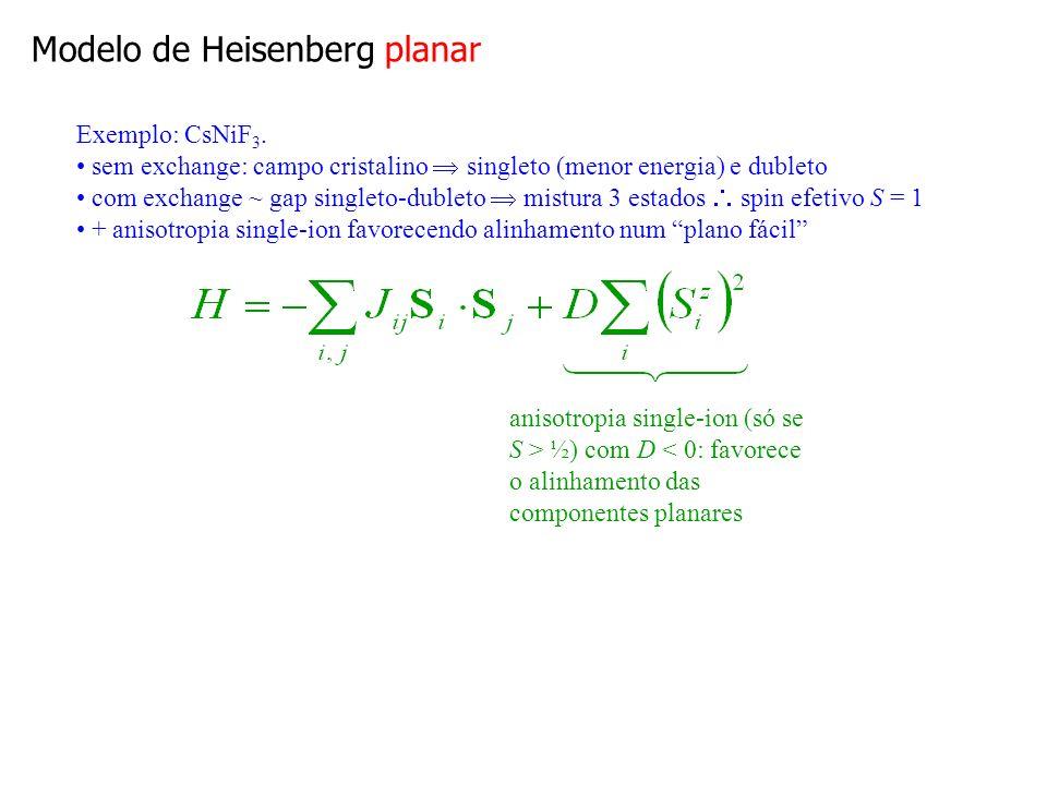 Modelo XY É o limite extremo de anisotropia planar: spins confinados a um plano Planar XY Para grandezas universais, diferença entre planar e XY é imaterial