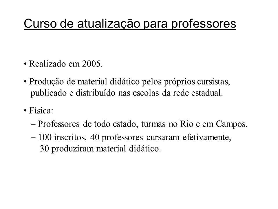 Curso de atualização para professores Realizado em 2005. Produção de material didático pelos próprios cursistas, publicado e distribuído nas escolas d