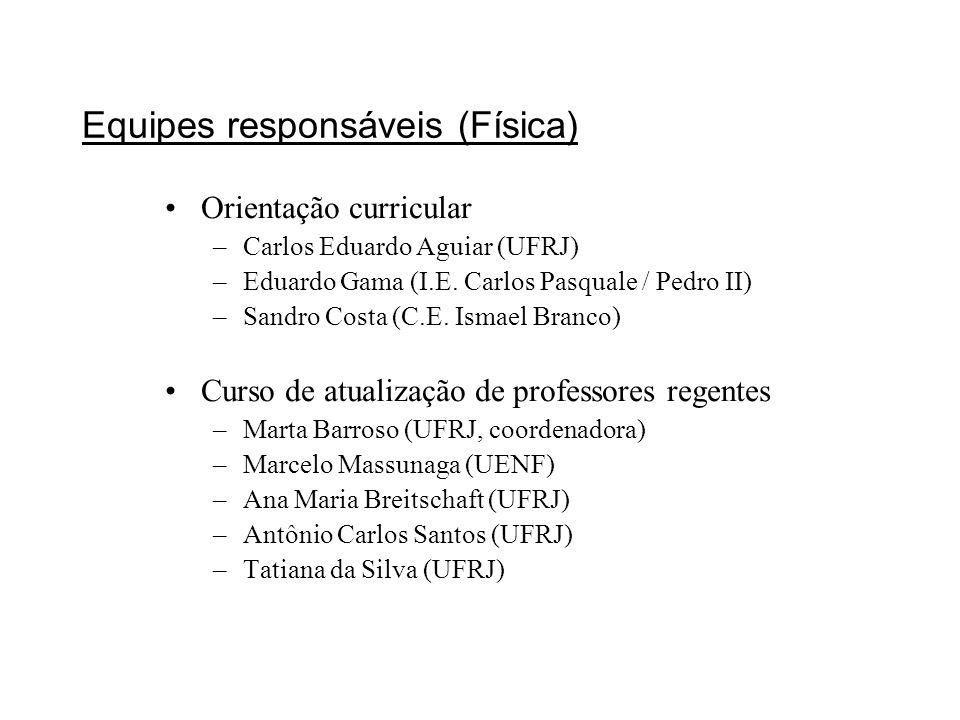 Equipes responsáveis (Física) Orientação curricular –Carlos Eduardo Aguiar (UFRJ) –Eduardo Gama (I.E. Carlos Pasquale / Pedro II) –Sandro Costa (C.E.