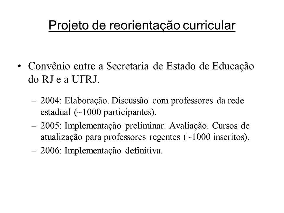 Projeto de reorientação curricular Convênio entre a Secretaria de Estado de Educação do RJ e a UFRJ. –2004: Elaboração. Discussão com professores da r