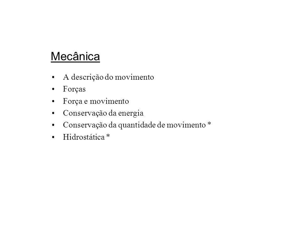 Mecânica A descrição do movimento Forças Força e movimento Conservação da energia Conservação da quantidade de movimento * Hidrostática *