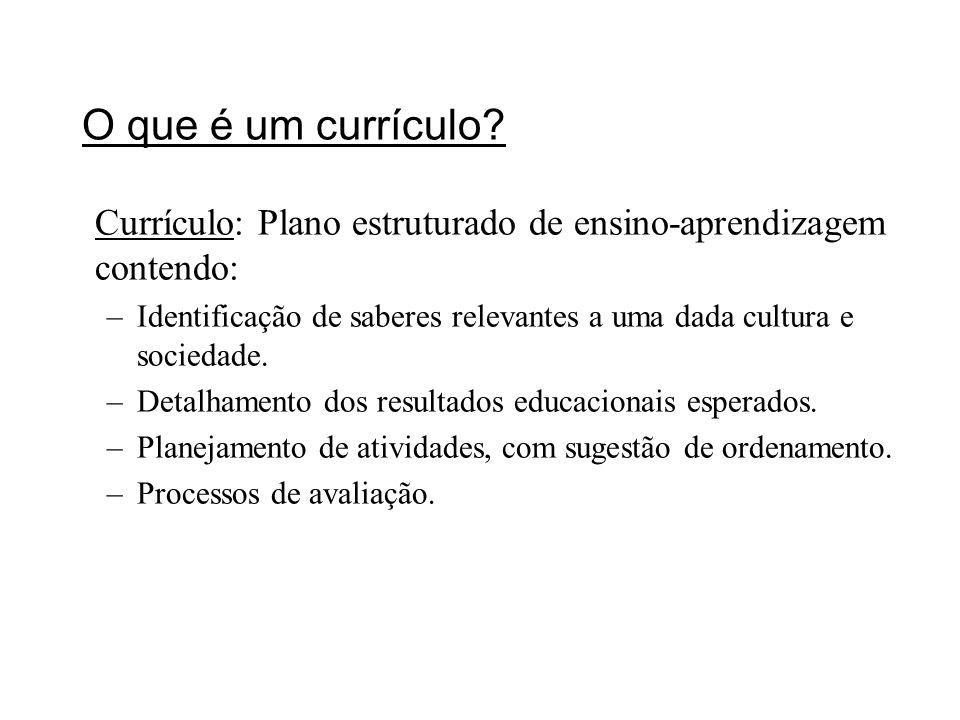 O que é um currículo? Currículo: Plano estruturado de ensino-aprendizagem contendo: –Identificação de saberes relevantes a uma dada cultura e sociedad