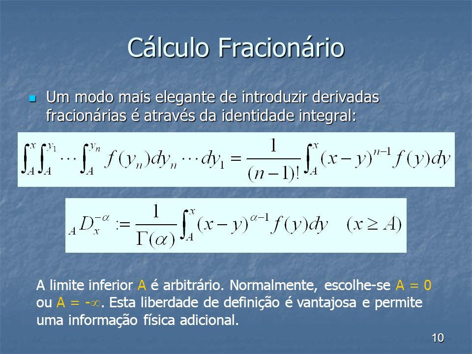 10 Cálculo Fracionário Um modo mais elegante de introduzir derivadas fracionárias é através da identidade integral: Um modo mais elegante de introduzi