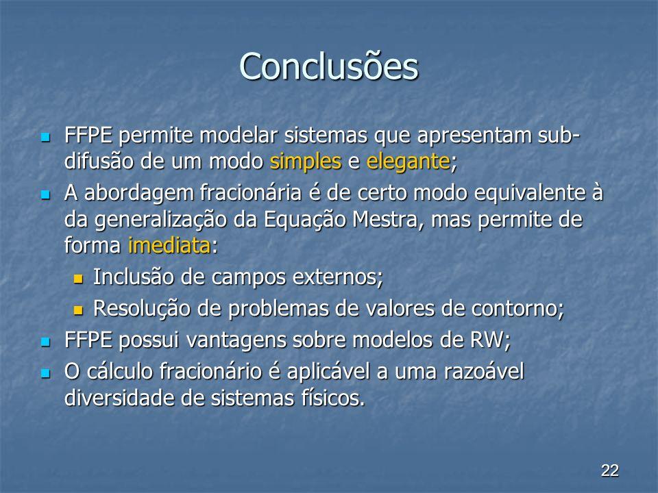 22 Conclusões FFPE permite modelar sistemas que apresentam sub- difusão de um modo simples e elegante; FFPE permite modelar sistemas que apresentam su