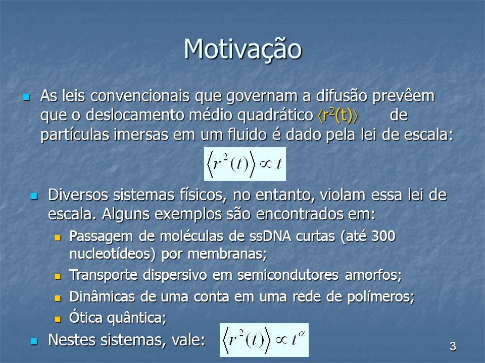 3 Motivação As leis convencionais que governam a difusão prevêem que o deslocamento médio quadrático r 2 (t) de partículas imersas em um fluido é dado