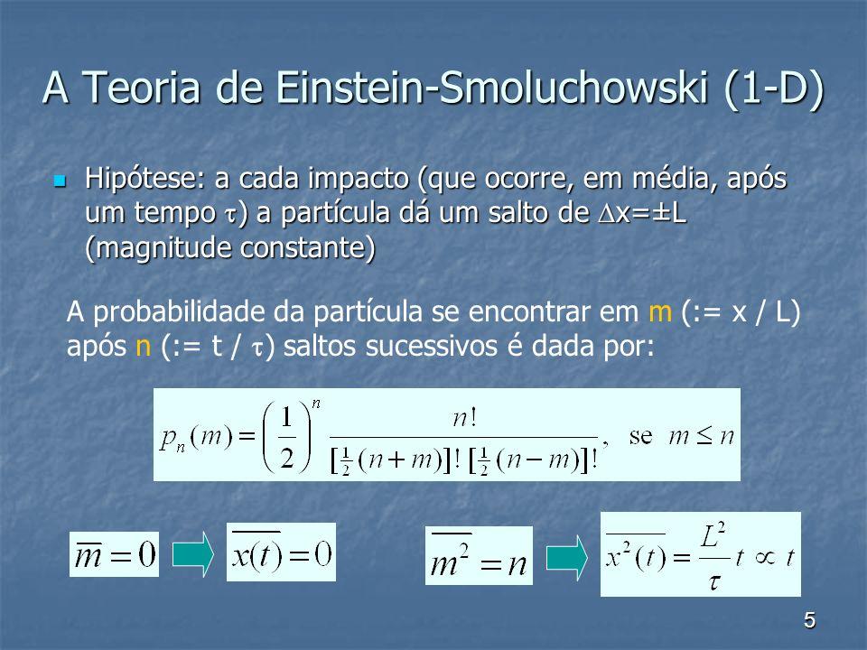 5 A Teoria de Einstein-Smoluchowski (1-D) Hipótese: a cada impacto (que ocorre, em média, após um tempo ) a partícula dá um salto de x=±L (magnitude c