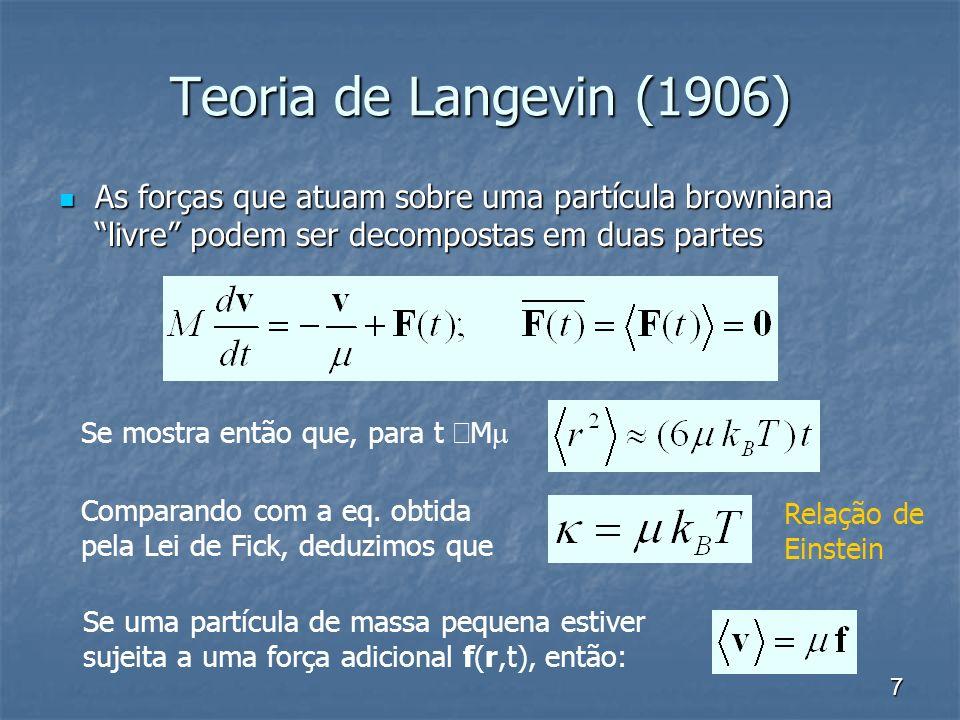 7 Teoria de Langevin (1906) As forças que atuam sobre uma partícula browniana livre podem ser decompostas em duas partes As forças que atuam sobre uma