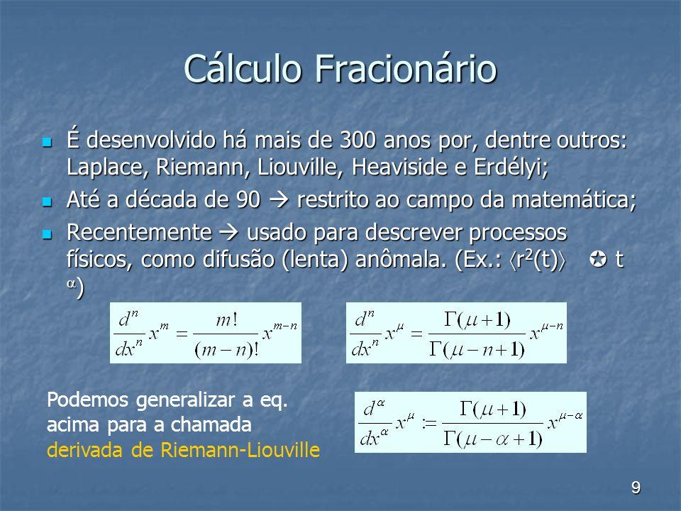 9 Cálculo Fracionário É desenvolvido há mais de 300 anos por, dentre outros: Laplace, Riemann, Liouville, Heaviside e Erdélyi; É desenvolvido há mais