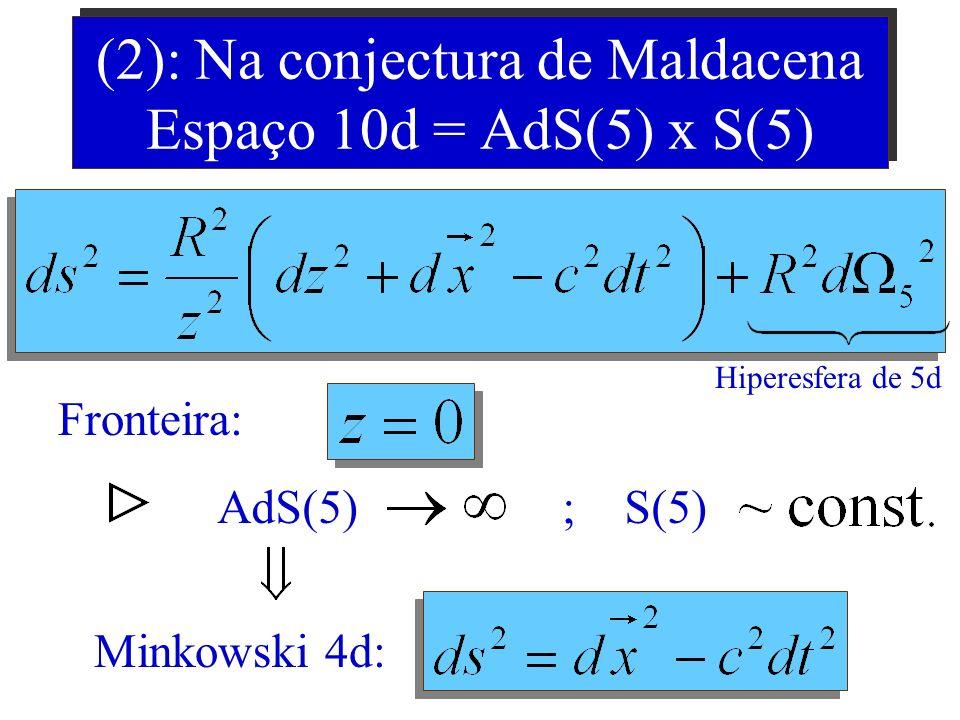 Explicando Melhor (1): Espaço anti-de Sitter 5d Fronteira 4d: Minkowski 4d: Espaço com Curvatura Constante e Negativa