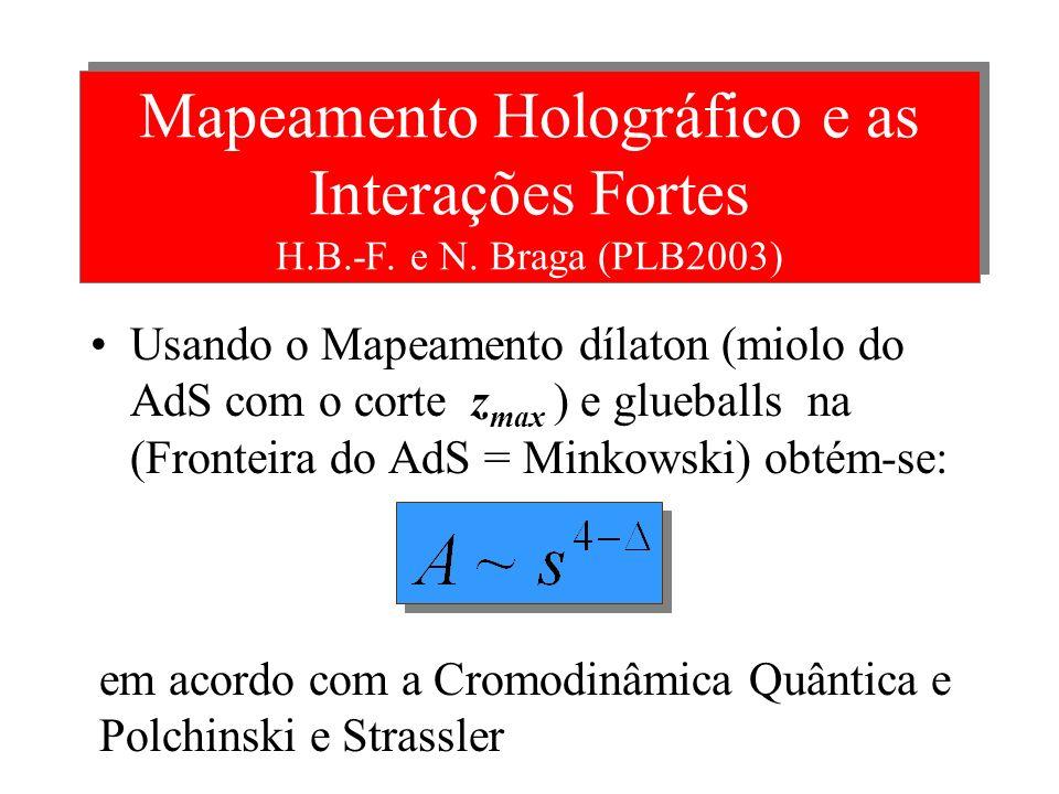 Interação Forte e Cordas no AdS Polchinski e Strassler [PRL 2002] mostraram que a Amplitude de Veneziano A(s,t) calcu- lada a partir de Cordas (em par