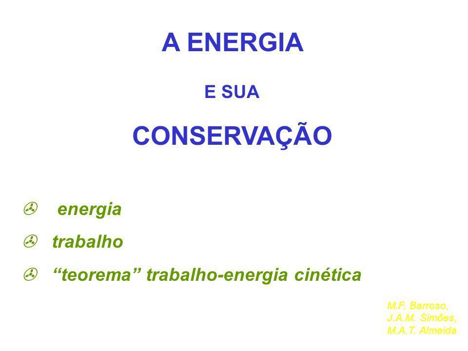 A ENERGIA E SUA CONSERVAÇÃO energia trabalho teorema trabalho-energia cinética M.F. Barroso, J.A.M. Simões, M.A.T. Almeida