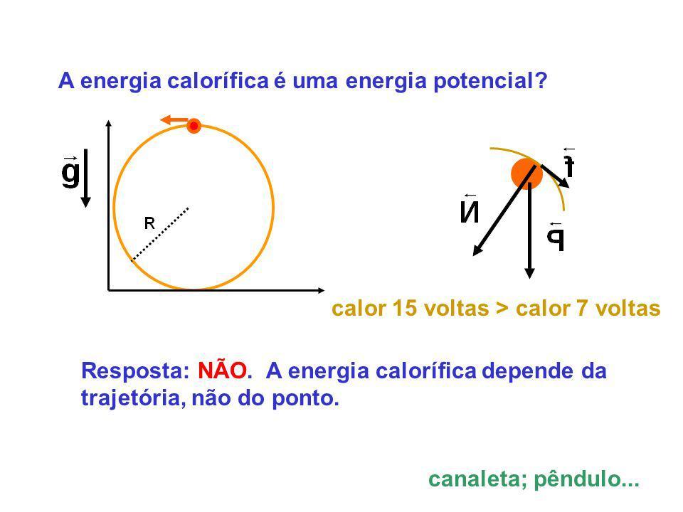 A energia calorífica é uma energia potencial? calor 15 voltas > calor 7 voltas Resposta: NÃO. A energia calorífica depende da trajetória, não do ponto
