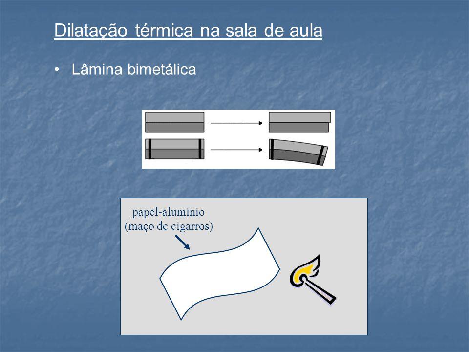 Dilatação térmica na sala de aula Lâmina bimetálica papel-alumínio (maço de cigarros)