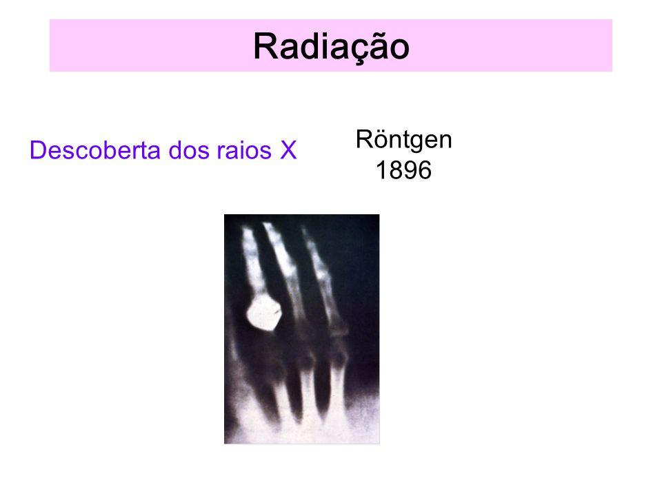 Radiação Descoberta dos raios X Röntgen 1896
