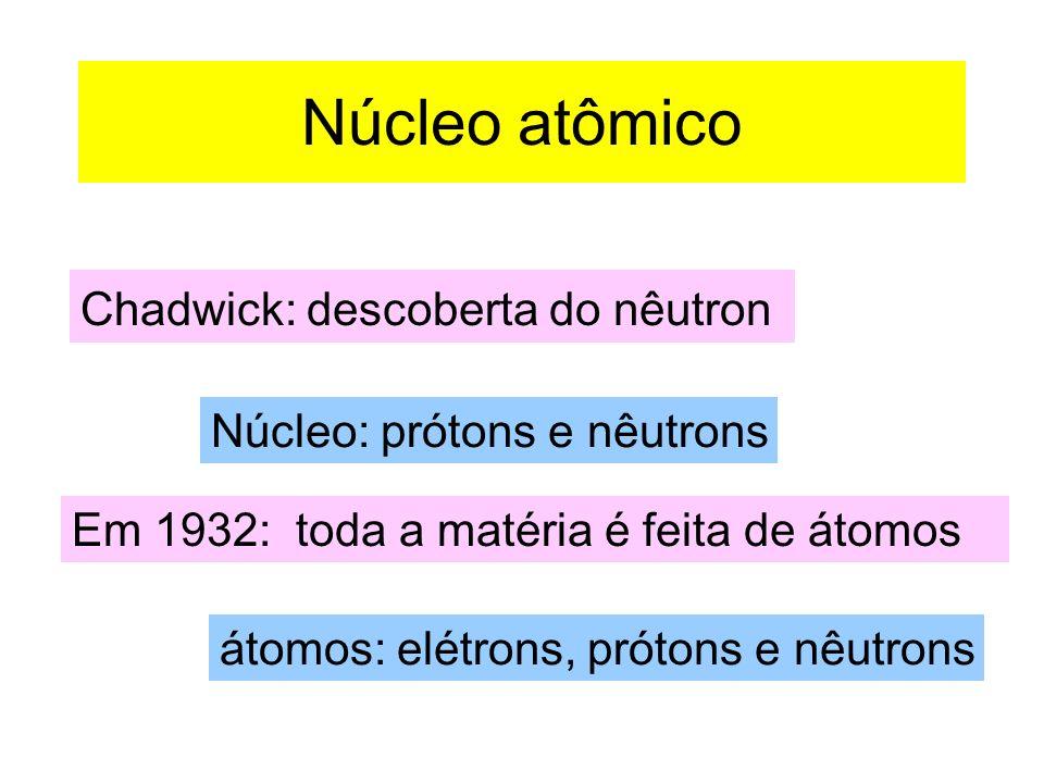 Núcleo atômico Chadwick: descoberta do nêutron Núcleo: prótons e nêutrons Em 1932: toda a matéria é feita de átomos átomos: elétrons, prótons e nêutrons