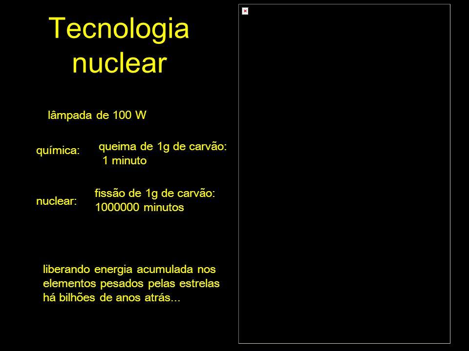 Tecnologia nuclear química: lâmpada de 100 W queima de 1g de carvão: 1 minuto nuclear: fissão de 1g de carvão: 1000000 minutos liberando energia acumulada nos elementos pesados pelas estrelas há bilhões de anos atrás...