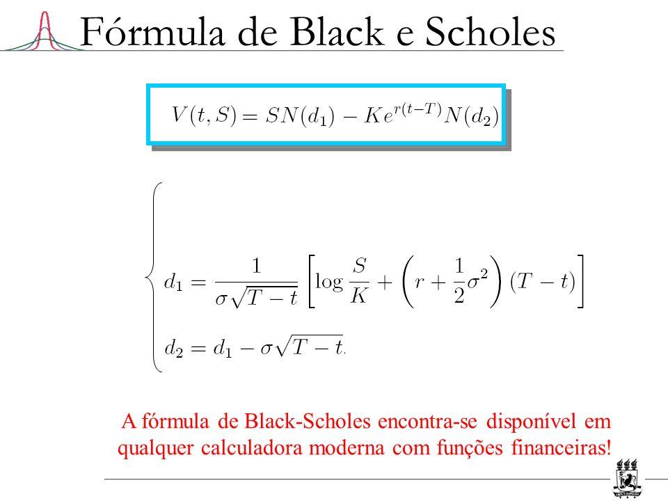 Fórmula de Black e Scholes A fórmula de Black-Scholes encontra-se disponível em qualquer calculadora moderna com funções financeiras!