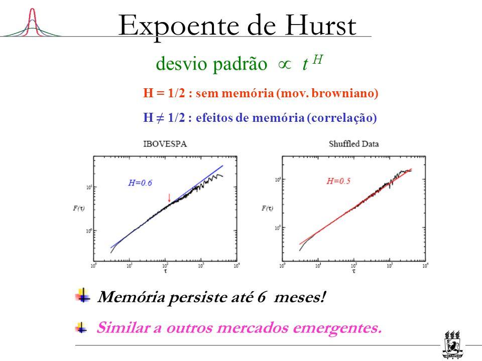Expoente de Hurst desvio padrão t H H = 1/2 : sem memória (mov. browniano) H 1/2 : efeitos de memória (correlação) Memória persiste até 6 meses! Simil