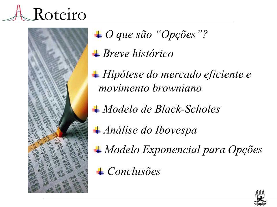 Mercado de Opções Uma opção é um contrato que dá o direito, mas não a obrigação, de comprar ou vender um determinado ativo S por um preço K pré- determinado (preço de exercício) em um tempo T futuro (vencimento).