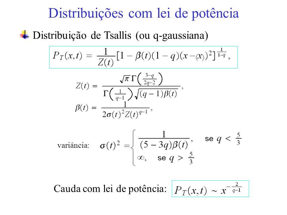 variância: Distribuições com lei de potência Distribuição de Tsallis (ou q-gaussiana) Cauda com lei de potência: