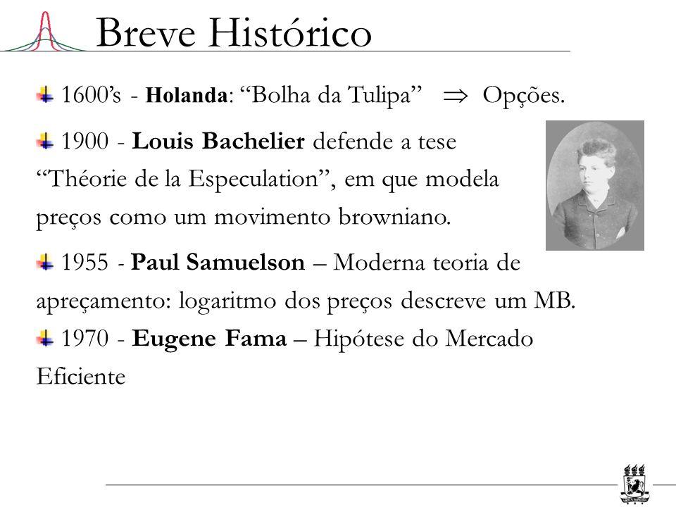 1600s - Holanda: Bolha da Tulipa Opções. 1900 - Louis Bachelier defende a tese Théorie de la Especulation, em que modela preços como um movimento brow