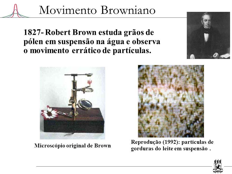 Movimento Browniano 1905- Einstein formula e resolve o problema Tratamento estatístico: movimentos sucessivos são mutuamente independentes processo de difusão