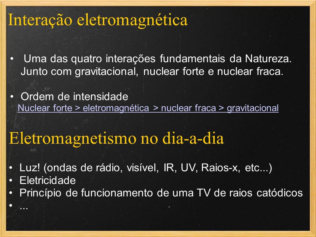 Interação eletromagnética Luz! (ondas de rádio, visível, IR, UV, Raios-x, etc...) Eletricidade Princípio de funcionamento de uma TV de raios catódicos