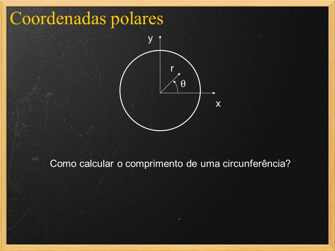 Coordenadas polares x y r Como calcular o comprimento de uma circunferência?