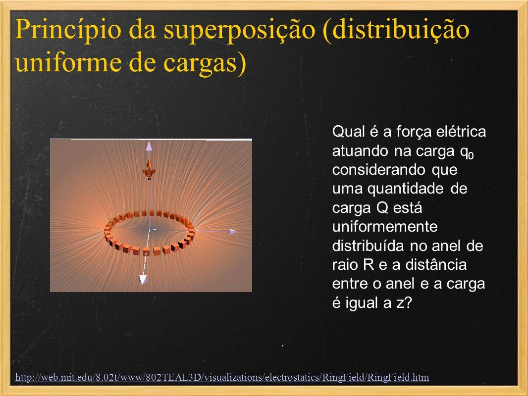 Princípio da superposição (distribuição uniforme de cargas) Qual é a força elétrica atuando na carga q 0 considerando que uma quantidade de carga Q es