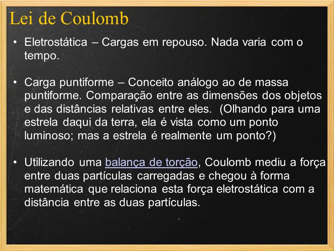 Lei de Coulomb Eletrostática – Cargas em repouso. Nada varia com o tempo. Carga puntiforme – Conceito análogo ao de massa puntiforme. Comparação entre