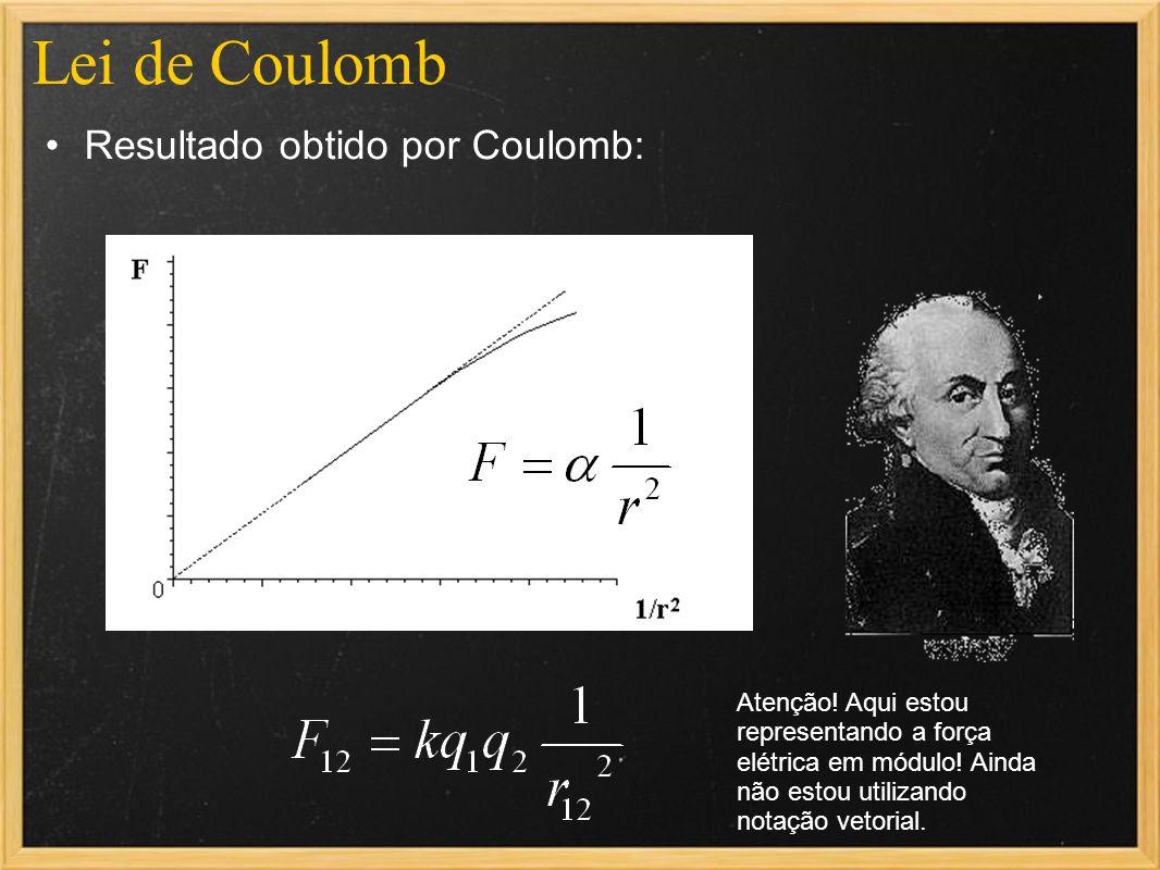 Lei de Coulomb Resultado obtido por Coulomb: Atenção! Aqui estou representando a força elétrica em módulo! Ainda não estou utilizando notação vetorial