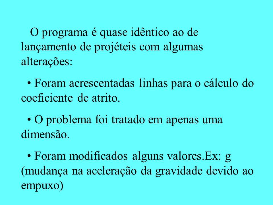 O programa é quase idêntico ao de lançamento de projéteis com algumas alterações: Foram acrescentadas linhas para o cálculo do coeficiente de atrito.