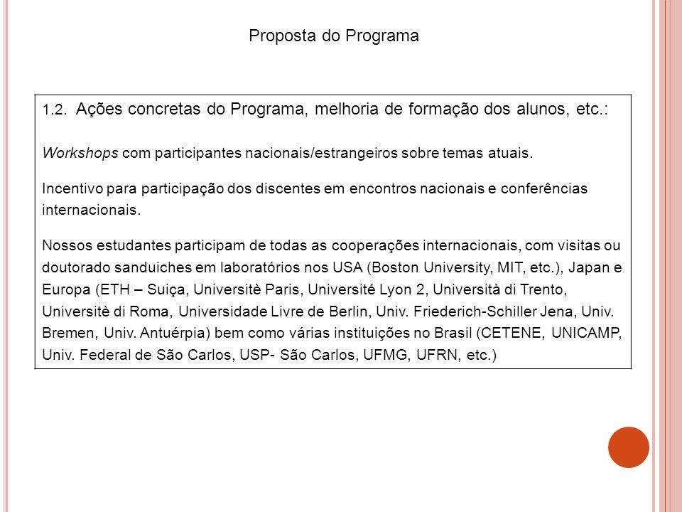 1.2. Ações concretas do Programa, melhoria de formação dos alunos, etc.: Workshops com participantes nacionais/estrangeiros sobre temas atuais. Incent