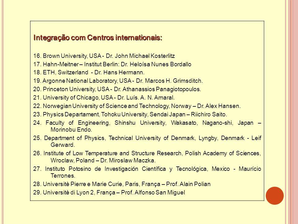 Integração com Centros internationais: 16. Brown University, USA - Dr. John Michael Kosterlitz 17. Hahn-Meitner – Institut Berlin: Dr. Heloísa Nunes B