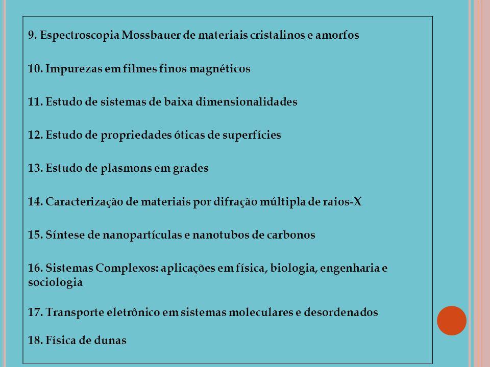 9. Espectroscopia Mossbauer de materiais cristalinos e amorfos 10. Impurezas em filmes finos magnéticos 11. Estudo de sistemas de baixa dimensionalida