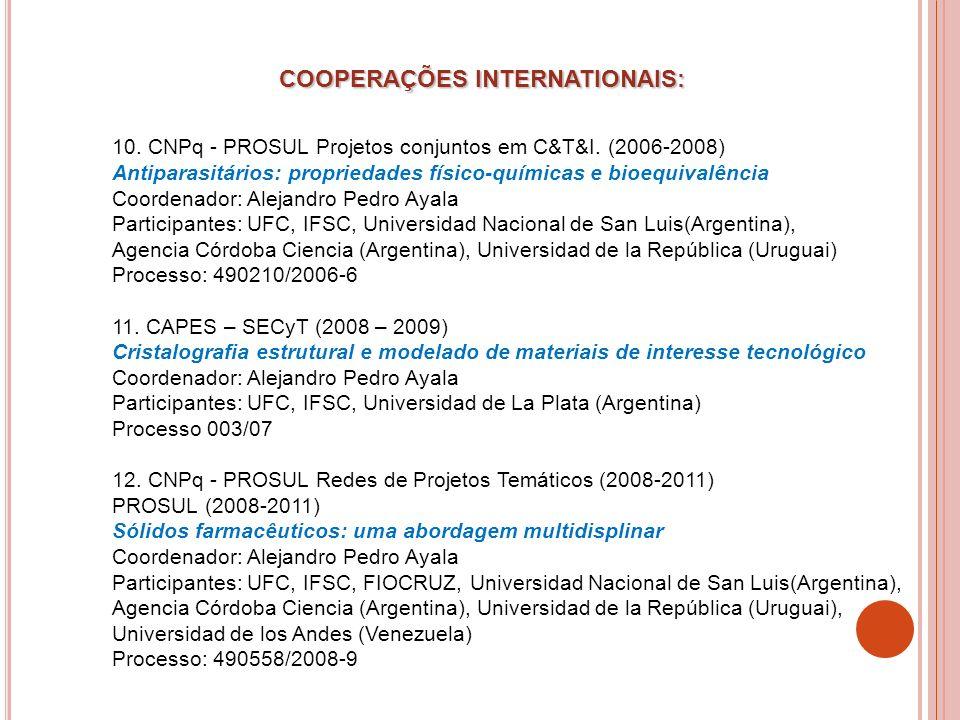 10. CNPq - PROSUL Projetos conjuntos em C&T&I. (2006-2008) Antiparasitários: propriedades físico-químicas e bioequivalência Coordenador: Alejandro Ped