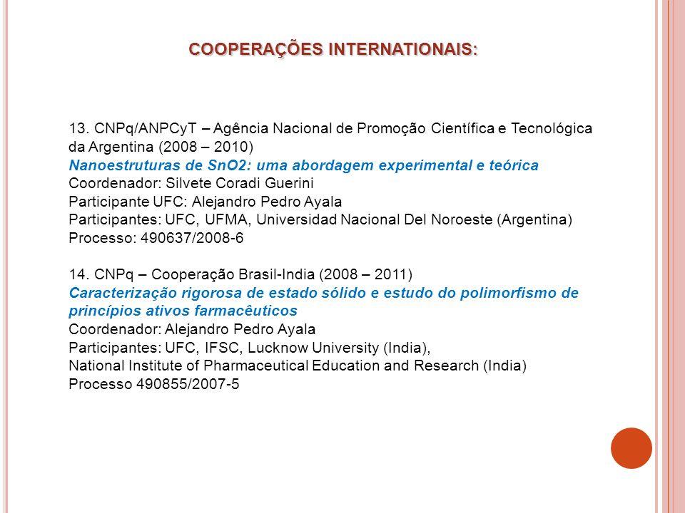 13. CNPq/ANPCyT – Agência Nacional de Promoção Científica e Tecnológica da Argentina (2008 – 2010) Nanoestruturas de SnO2: uma abordagem experimental