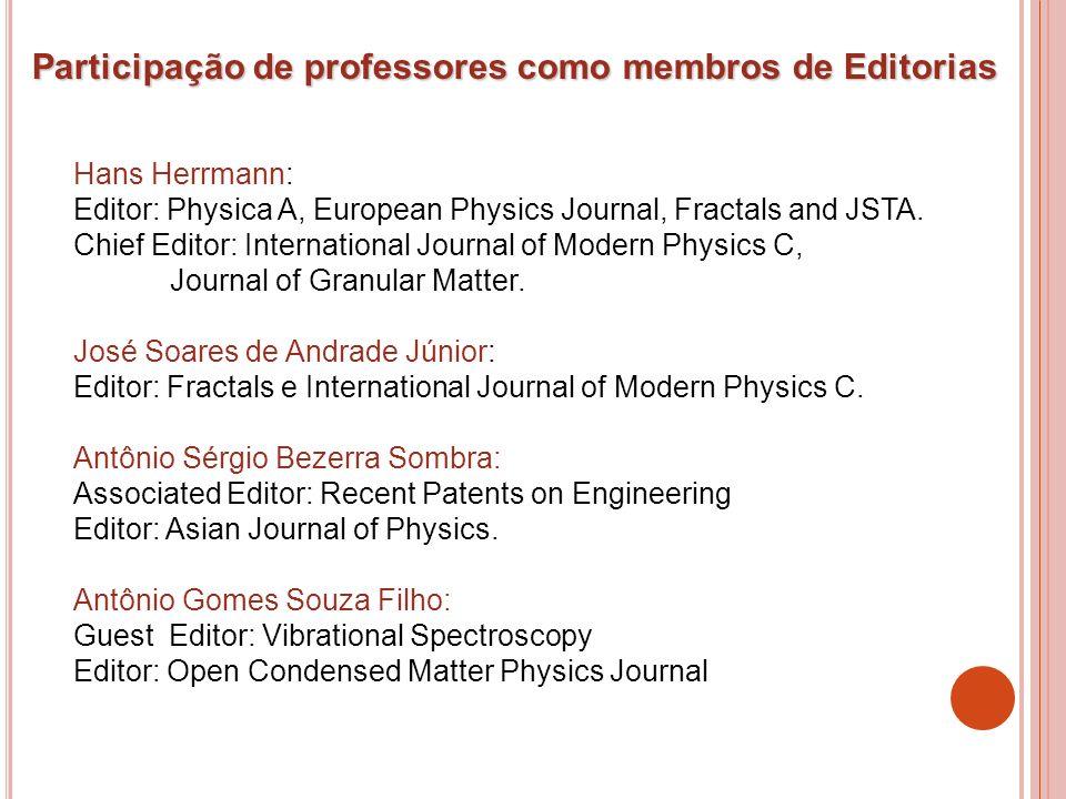 Participação de professores como membros de Editorias Hans Herrmann: Editor: Physica A, European Physics Journal, Fractals and JSTA. Chief Editor: Int