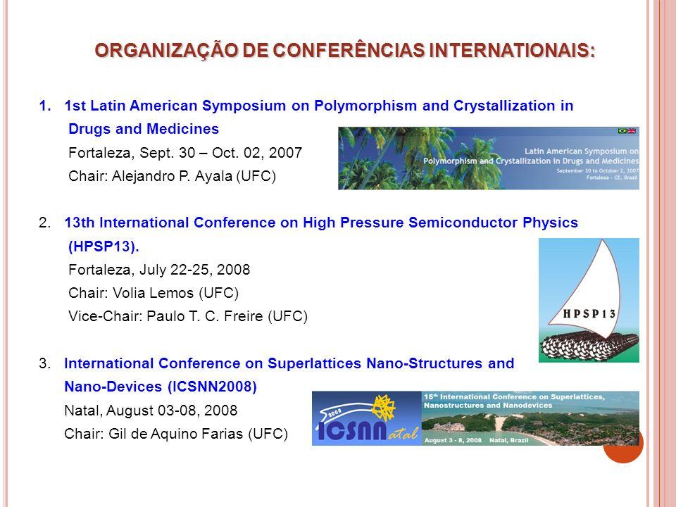 ORGANIZAÇÃO DE CONFERÊNCIAS INTERNATIONAIS: 1.1st Latin American Symposium on Polymorphism and Crystallization in Drugs and Medicines Fortaleza, Sept.