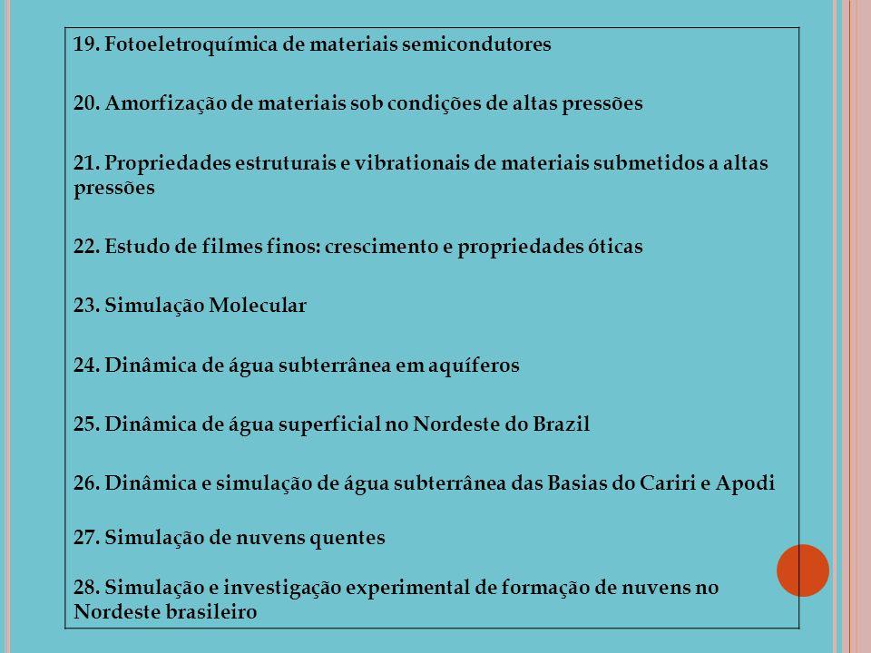 19. Fotoeletroquímica de materiais semicondutores 20. Amorfização de materiais sob condições de altas pressões 21. Propriedades estruturais e vibratio