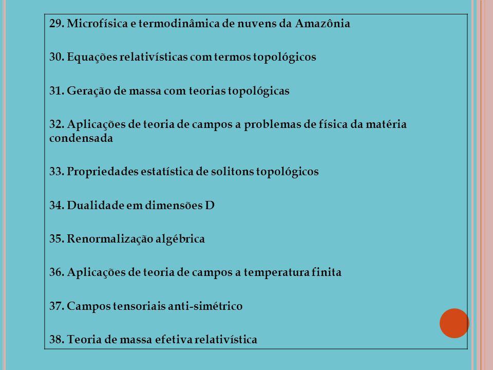 29. Microfísica e termodinâmica de nuvens da Amazônia 30. Equações relativísticas com termos topológicos 31. Geração de massa com teorias topológicas