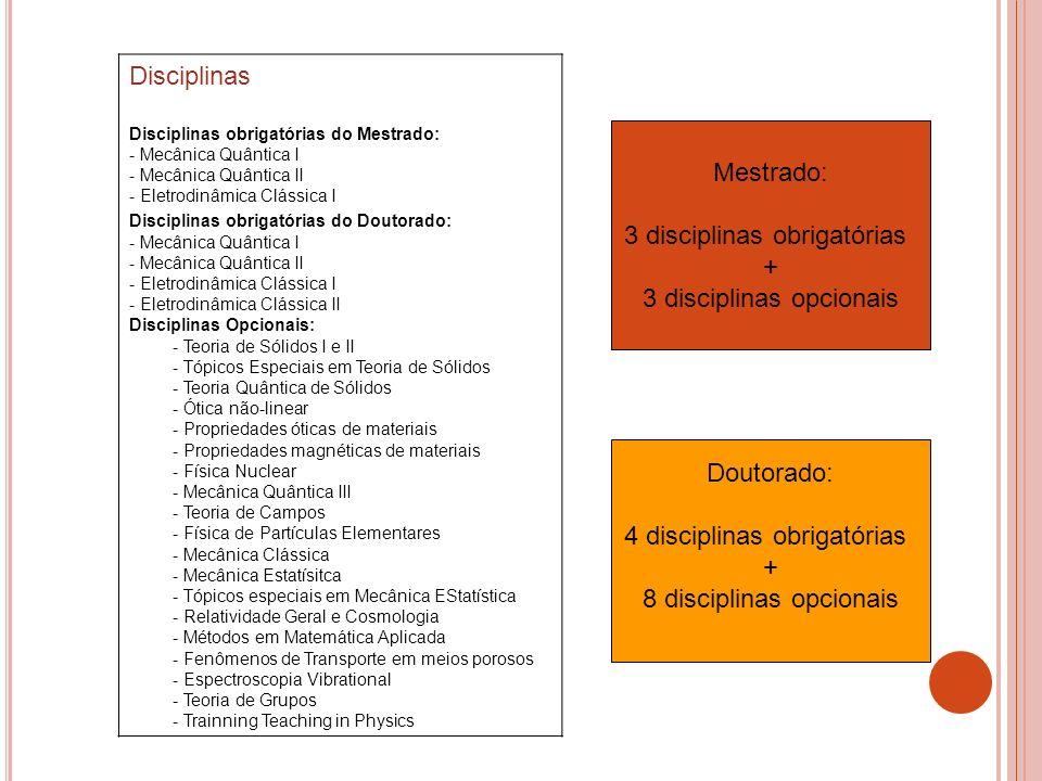 Disciplinas Disciplinas obrigatórias do Mestrado: - Mecânica Quântica I - Mecânica Quântica II - Eletrodinâmica Clássica I Disciplinas obrigatórias do