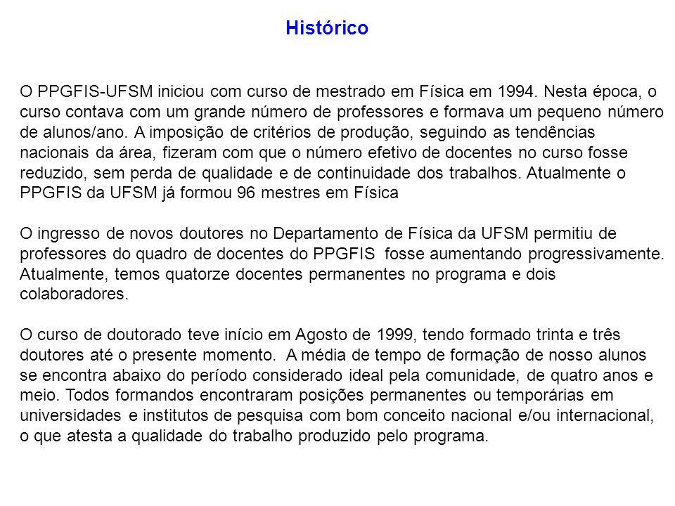 O PPGFIS-UFSM iniciou com curso de mestrado em Física em 1994. Nesta época, o curso contava com um grande número de professores e formava um pequeno n