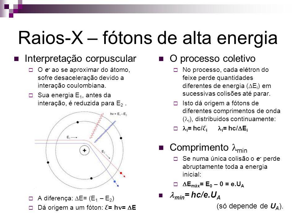 Raios-X – fótons de alta energia Interpretação corpuscular O e - ao se aproximar do átomo, sofre desaceleração devido a interação coulombiana. Sua ene