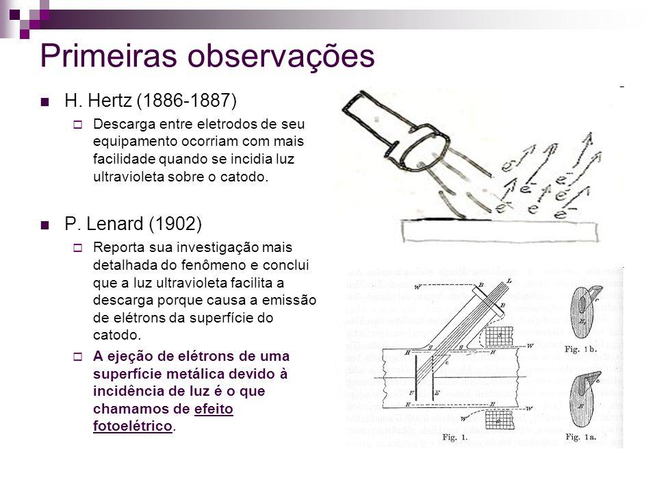 Primeiras observações H. Hertz (1886-1887) Descarga entre eletrodos de seu equipamento ocorriam com mais facilidade quando se incidia luz ultravioleta