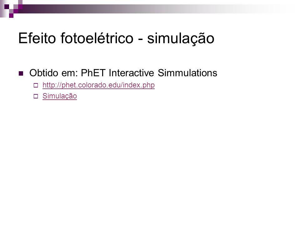 Efeito fotoelétrico - simulação Obtido em: PhET Interactive Simmulations http://phet.colorado.edu/index.php Simulação