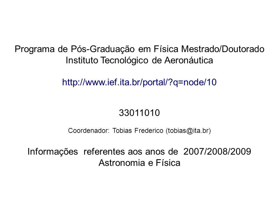 Programa de Pós-Graduação em Física Mestrado/Doutorado Instituto Tecnológico de Aeronáutica http://www.ief.ita.br/portal/?q=node/10 33011010 Coordenador: Tobias Frederico (tobias@ita.br) Informações referentes aos anos de 2007/2008/2009 Astronomia e Física