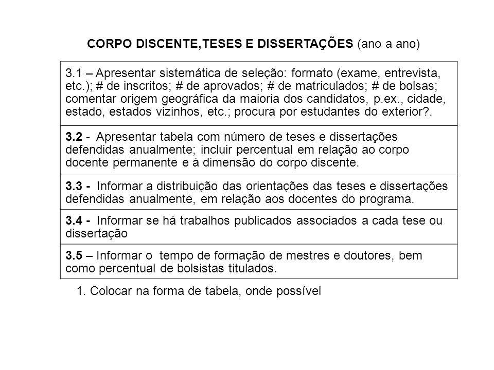 3.1 – Apresentar sistemática de seleção: formato (exame, entrevista, etc.); # de inscritos; # de aprovados; # de matriculados; # de bolsas; comentar o
