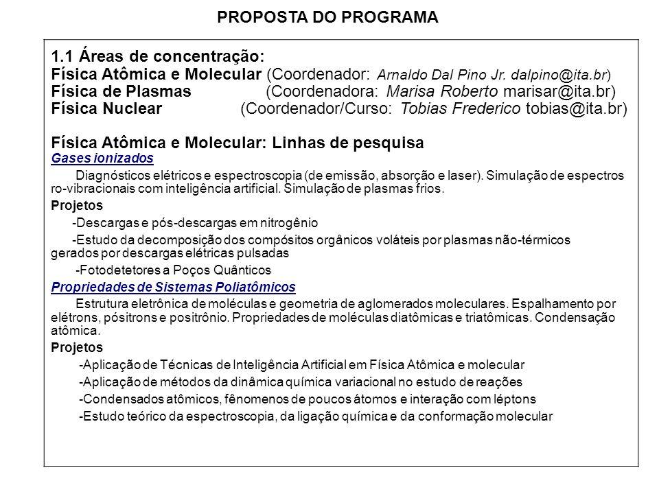 1.1 Áreas de concentração: Física Atômica e Molecular (Coordenador: Arnaldo Dal Pino Jr. dalpino@ita.br) Física de Plasmas (Coordenadora: Marisa Rober